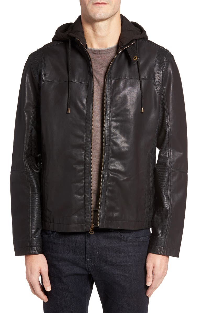 COLE HAAN Leather Moto Jacket with Knit Hood, Main, color, Black