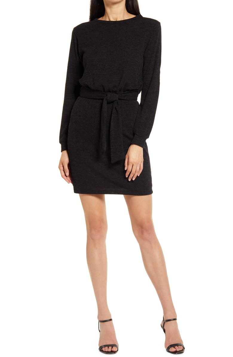 FRAICHE BY J Tie Front Long Sleeve Sweater Dress, Main, color, BLACK