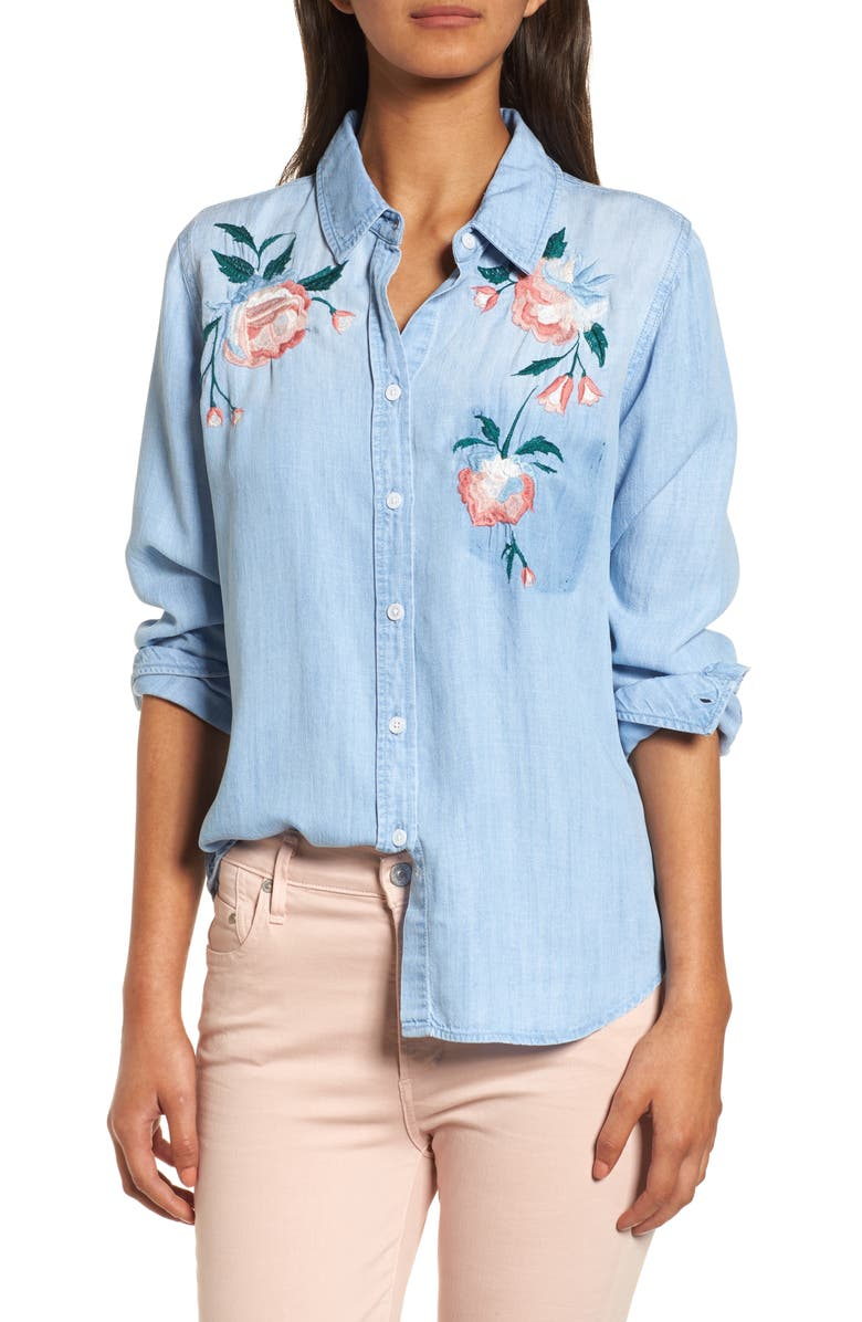 RAILS Chandler Embroidered Chambray Shirt, Main, color, VINTAGE WASH FLORAL