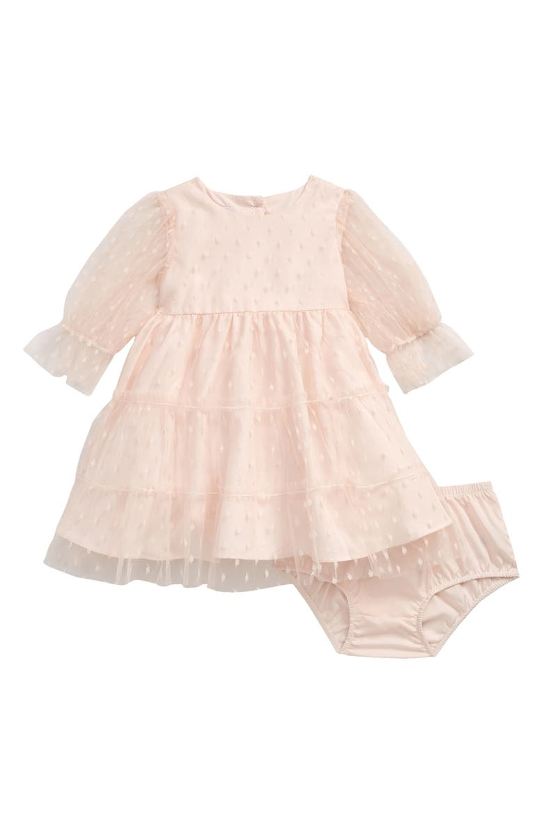 NORDSTROM Tiered Clip Dot Dress with Bloomers, Main, color, PINK IRIS