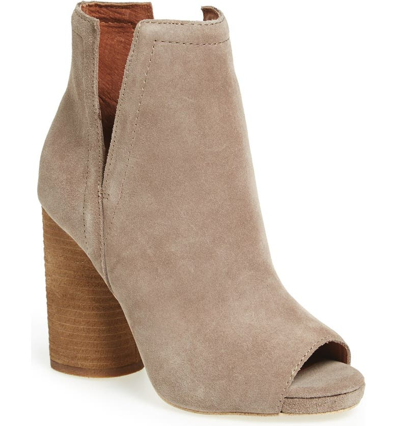 JEFFREY CAMPBELL 'Oath' Peep Toe Platform Bootie, Main, color, TAUPE OILED SUEDE