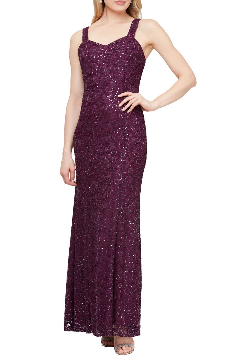 SLNY Sequin Lace Removable Capelet Sleeveless Gown, Main, color, PLU