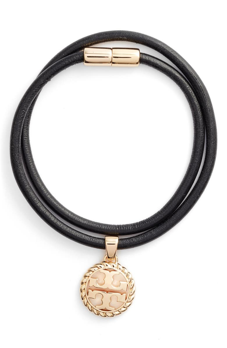 TORY BURCH Rope Logo Leather Wrap Bracelet, Main, color, TORY GOLD / BLACK