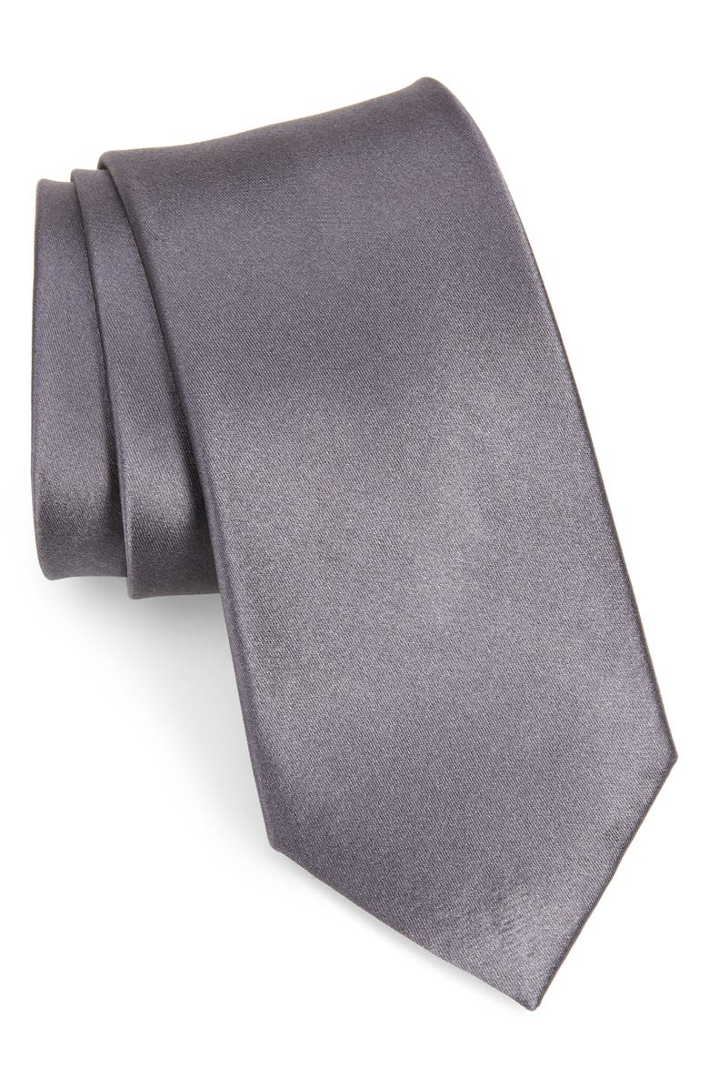NORDSTROM MEN'S SHOP Nordstrom Solid Silk X-Long Tie, Main, color, GREY