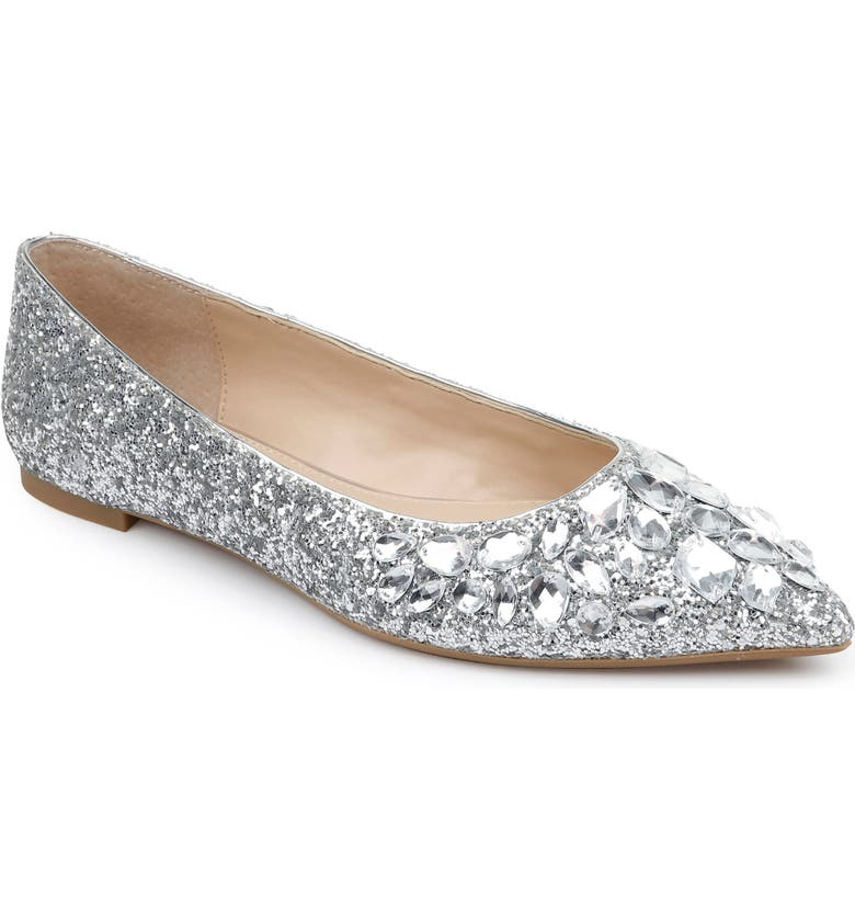 JEWEL BADGLEY MISCHKA Ulanni Embellished Pointed Toe Glitter Flat, Main, color, SILVER GLITTER