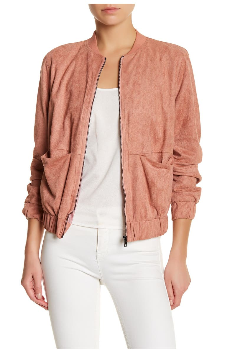 MISSGUIDED Faux Suede Bomber Jacket, Main, color, 651