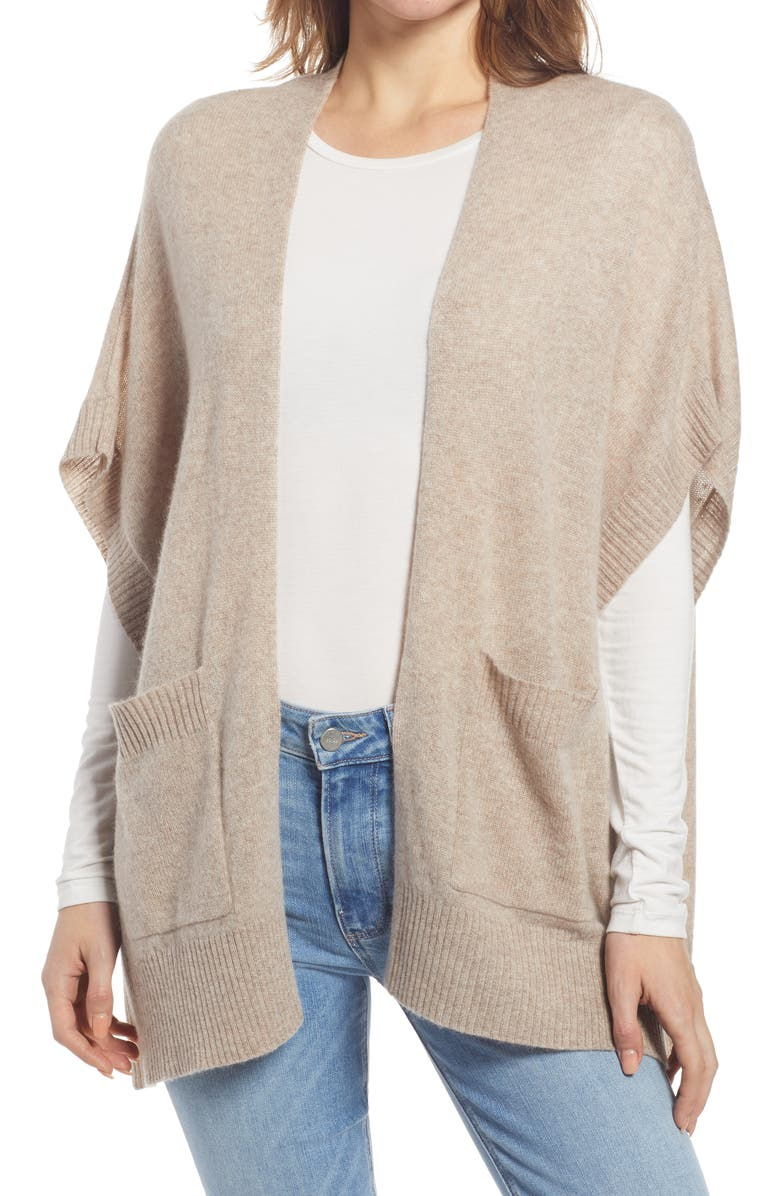 HALOGEN<SUP>®</SUP> Easy Throw-On Cashmere Ruana, Main, color, CAMEL