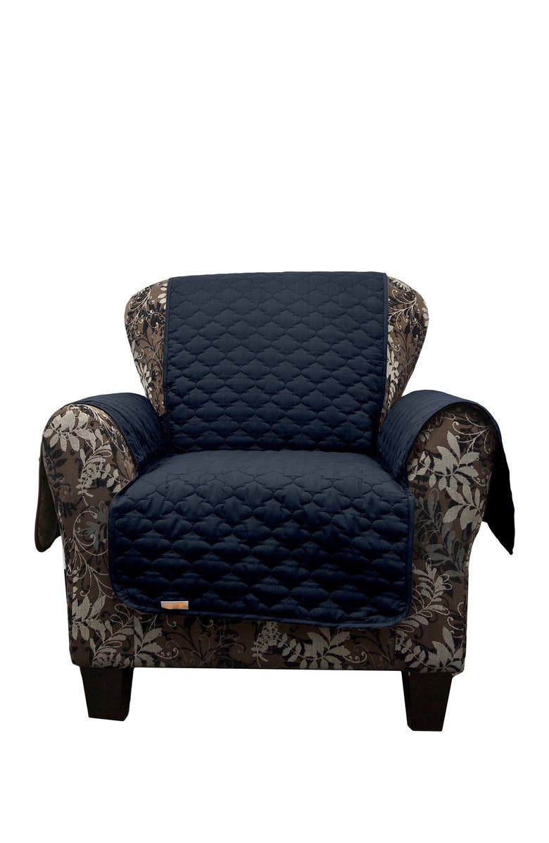 DUCK RIVER TEXTILE Navy Rhys Reversible Water Resistent Microfiber Chair Cover, Main, color, NONE