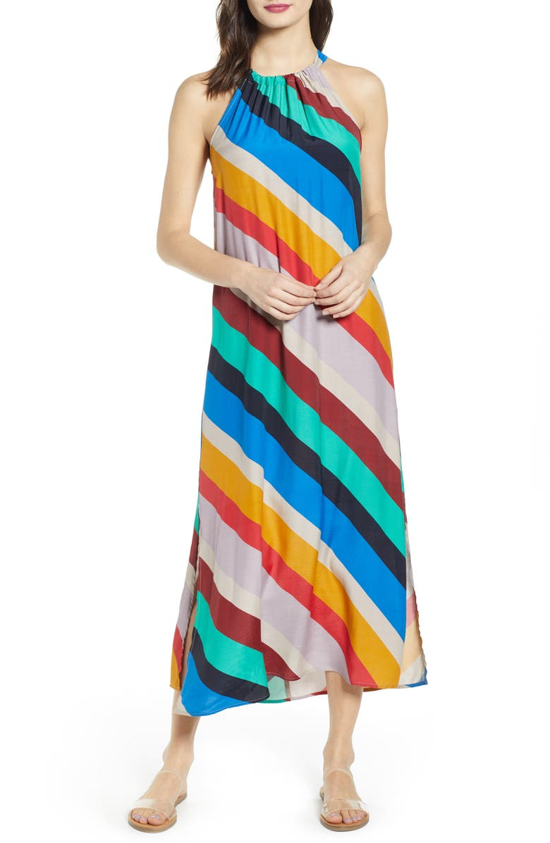 TEN SIXTY SHERMAN Stripe Halter Maxi Dress, Main, color, 400