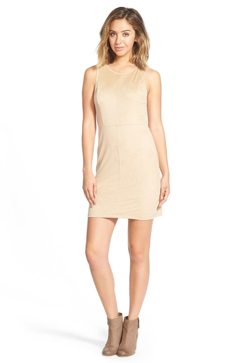 PAINTED THREADS Faux Suede Shift Dress, Main, color, 200