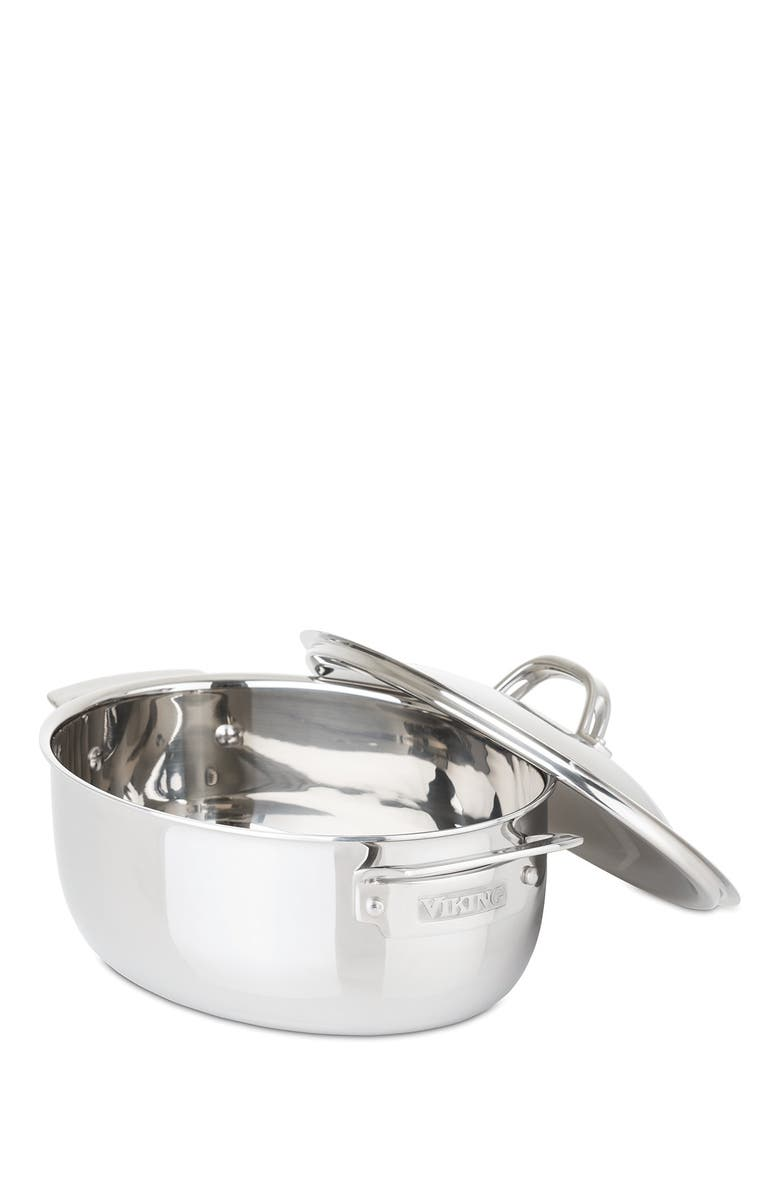 VIKING 3-Ply 5.5 Quart Oval Mirror Finish Stainless Steel Casserole/Dutch Oven, Main, color, SILVER