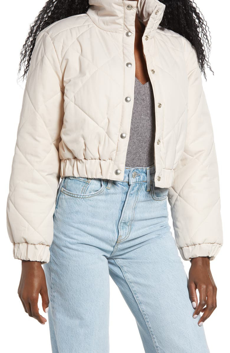 BLANKNYC Diamond Quilted Crop Puffer Jacket, Main, color, 100