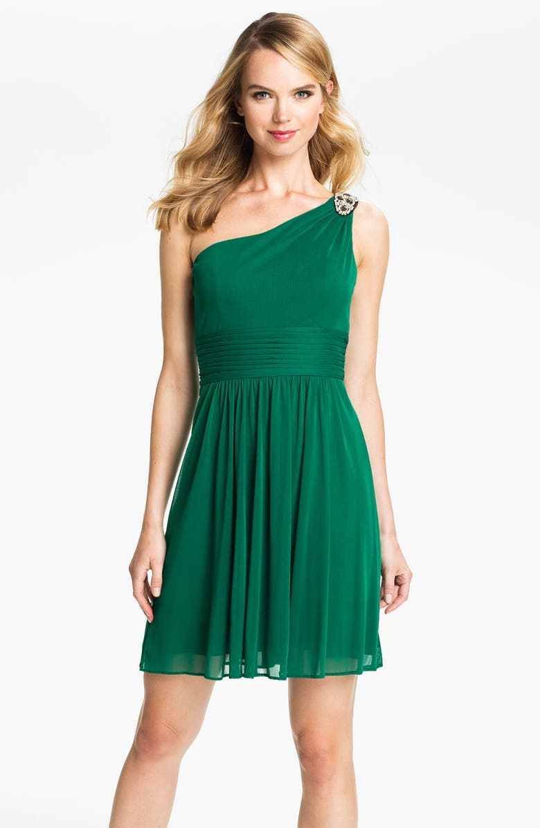 HAILEY BY ADRIANNA PAPELL One Shoulder Mesh Dress, Main, color, 321