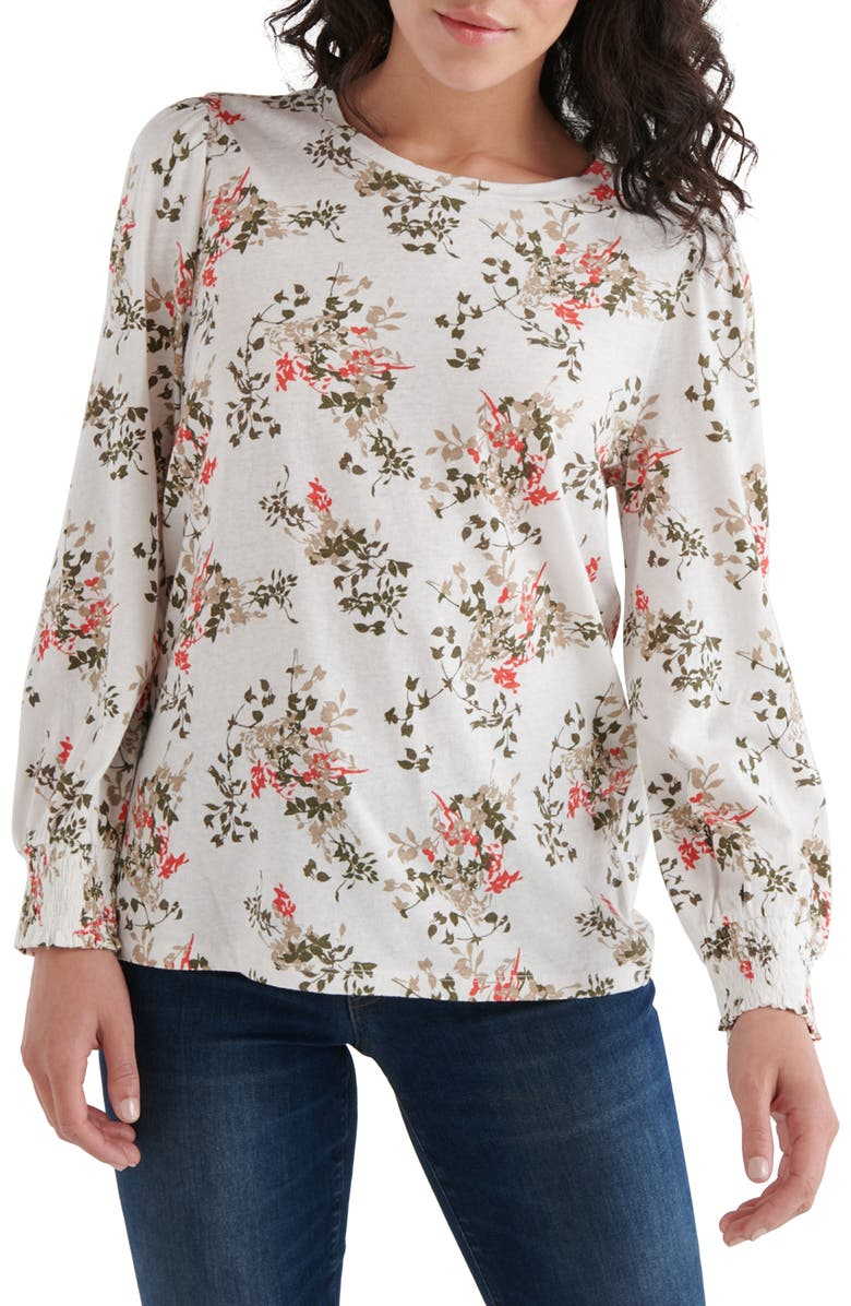 LUCKY BRAND Floral Print Blouson Sleeve Top, Main, color, RED MULTI