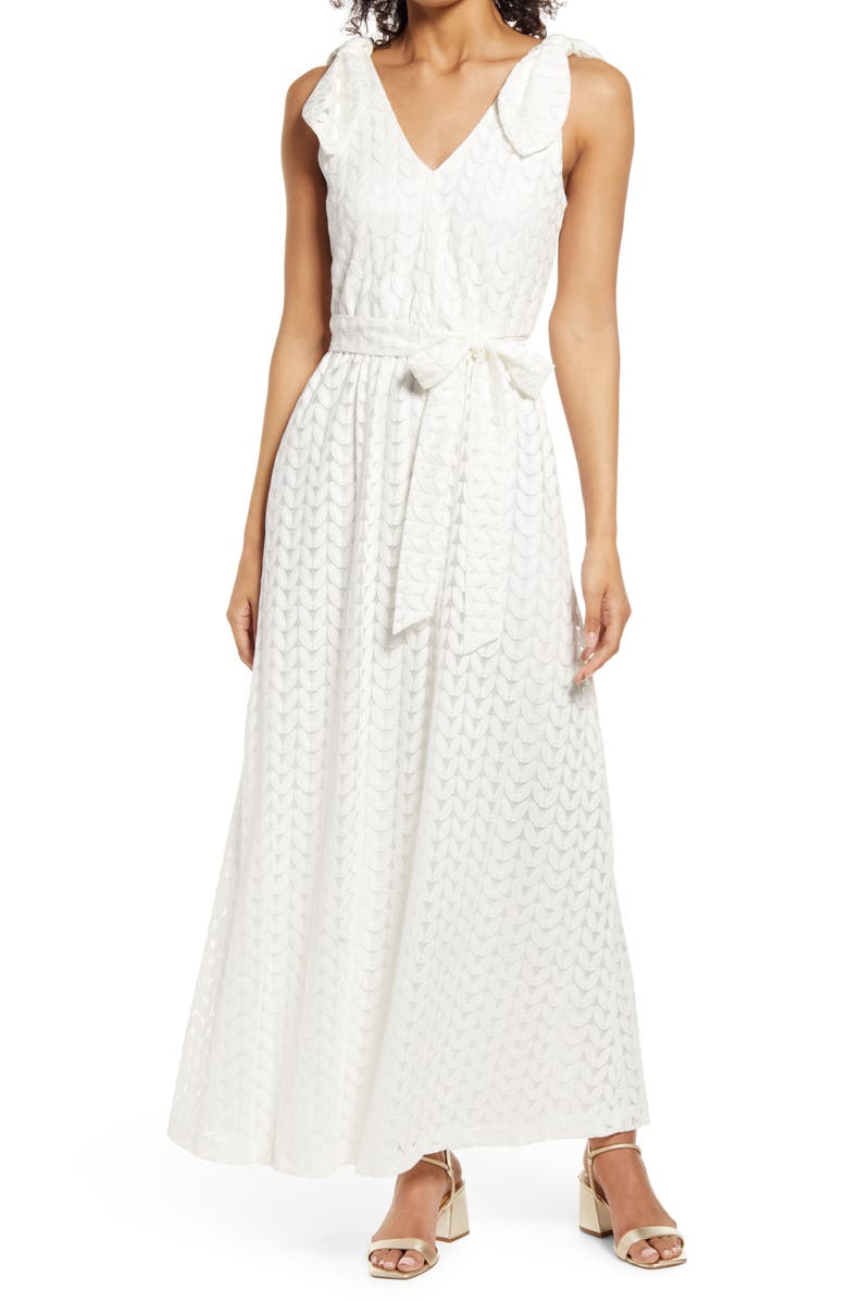 DONNA RICCO Bow Shoulder Belted Lace Dress, Main, color, IVORY