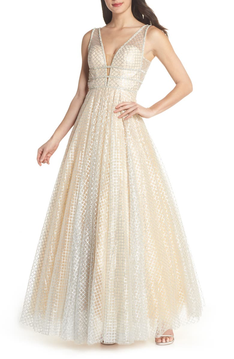 MAC DUGGAL Sequin Illusion Neck A-Line Gown, Main, color, NUDE/ SILVER