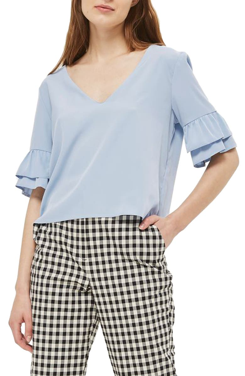 TOPSHOP Tie Back Ruffle Sleeve Top, Main, color, 450