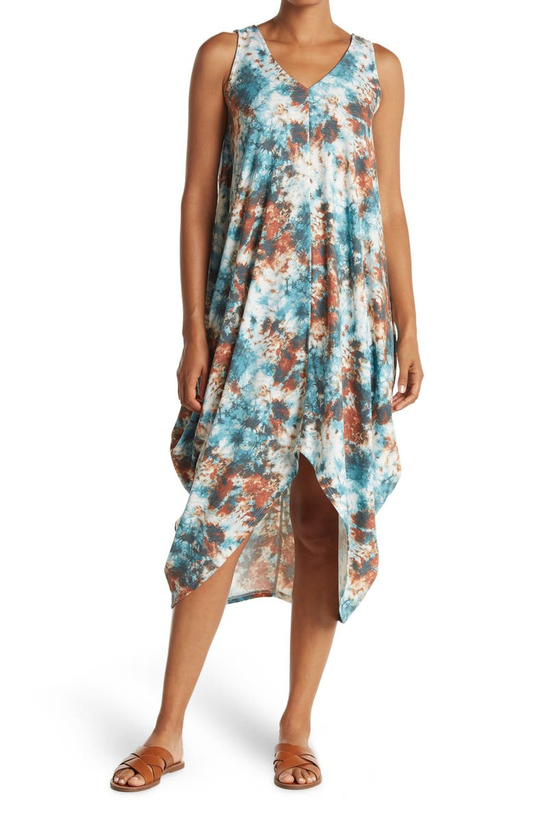MSK French Terry Shark Bite Maxi Dress, Main, color, TEAL/RUST