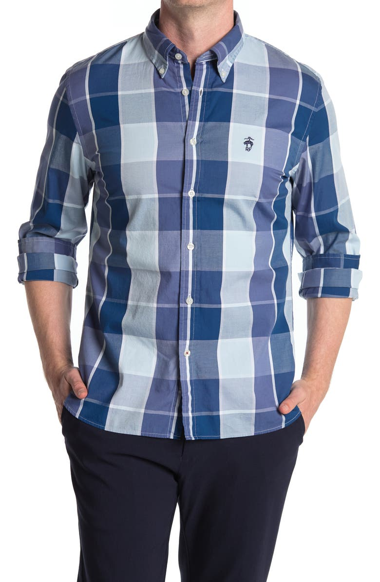 BROOKS BROTHERS Plaid Oxford Shirt, Main, color, NAVY