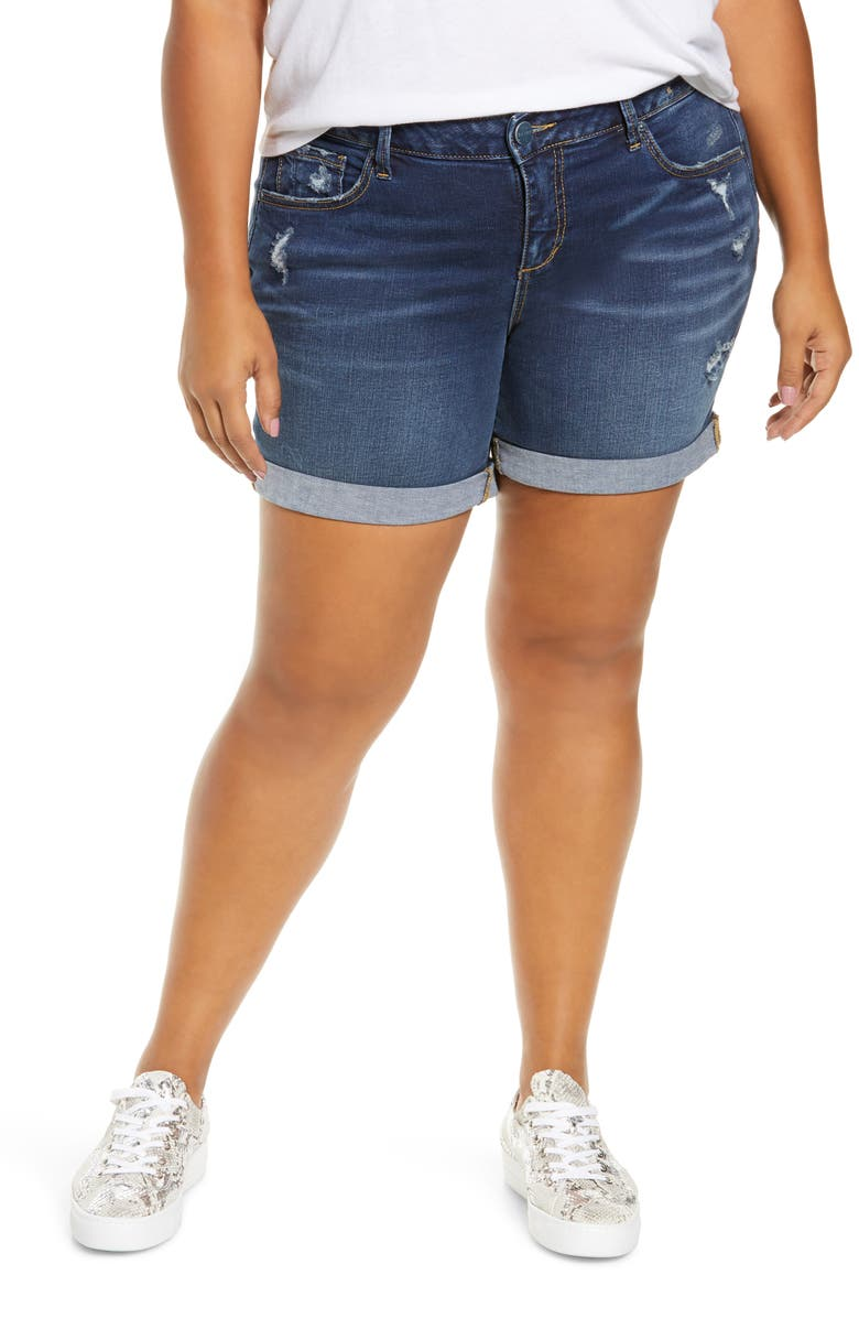 SLINK JEANS Roll Cuff Denim Shorts, Main, color, 400
