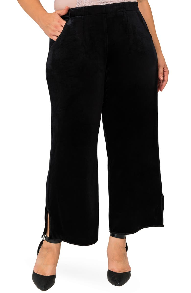 STANDARDS & PRACTICES Standard & Practices Libby High Rise Velvet Pants, Main, color, BLACK