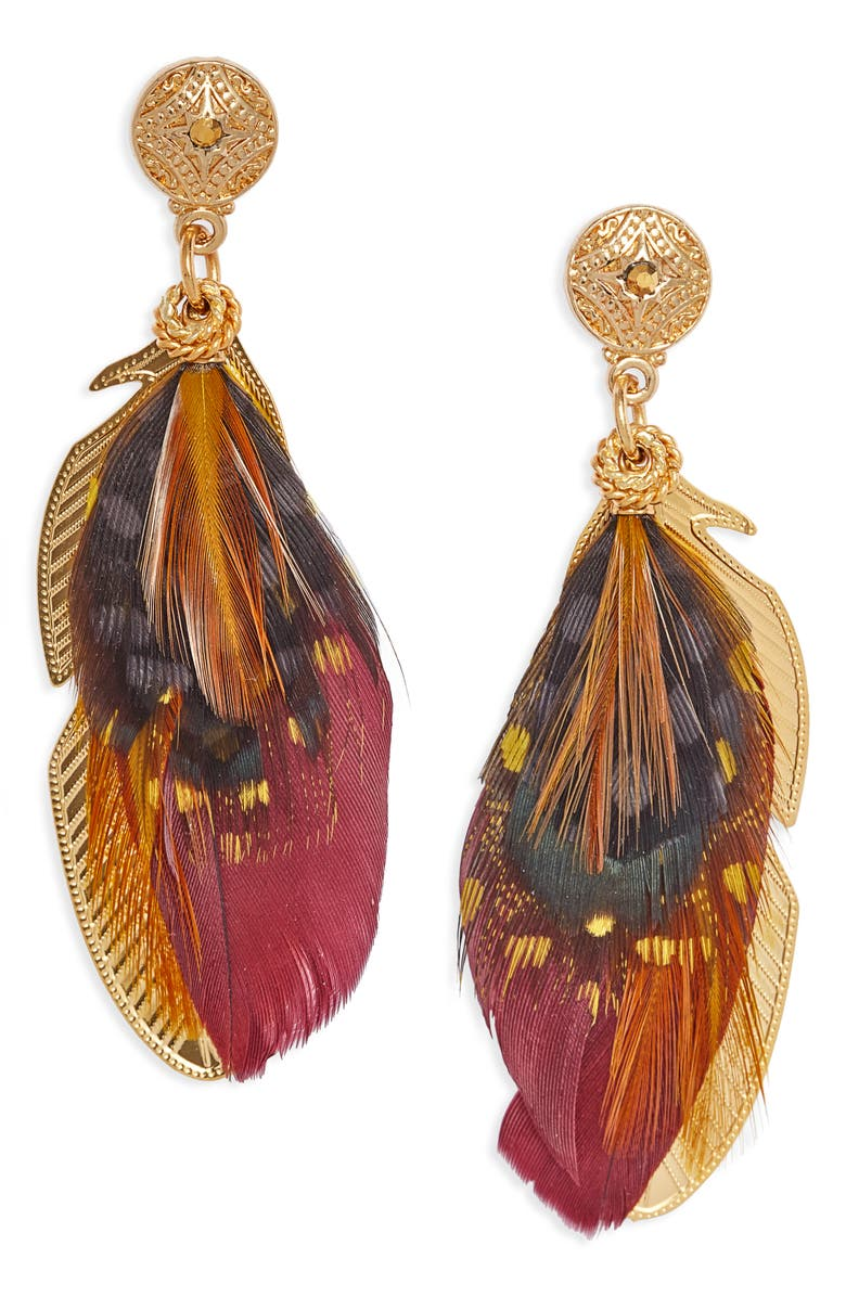 GAS BIJOUX Small Sao Feather Earrings, Main, color, 602