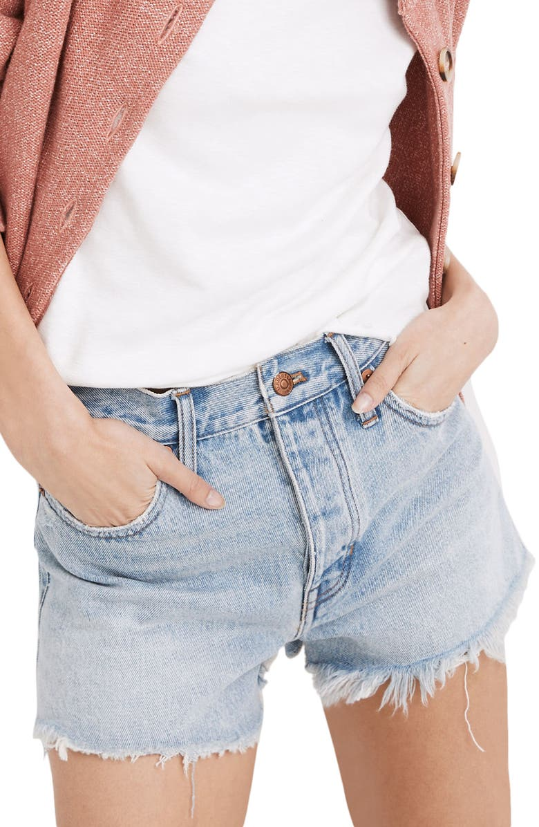 MADEWELL Relaxed Denim Shorts, Main, color, CEDARCROFT WASH