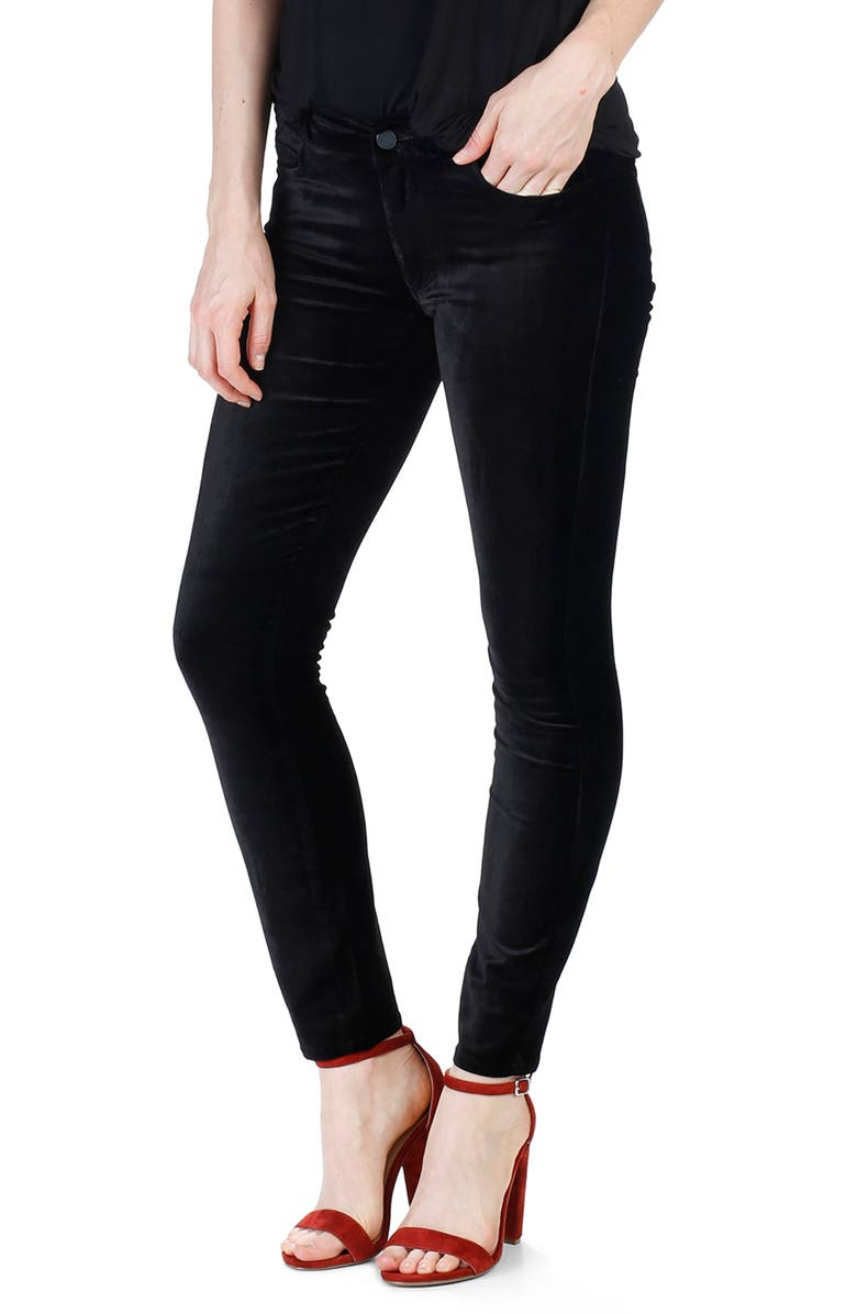 PAIGE Verdugo Velvet Ankle Skinny Pants, Main, color, 001