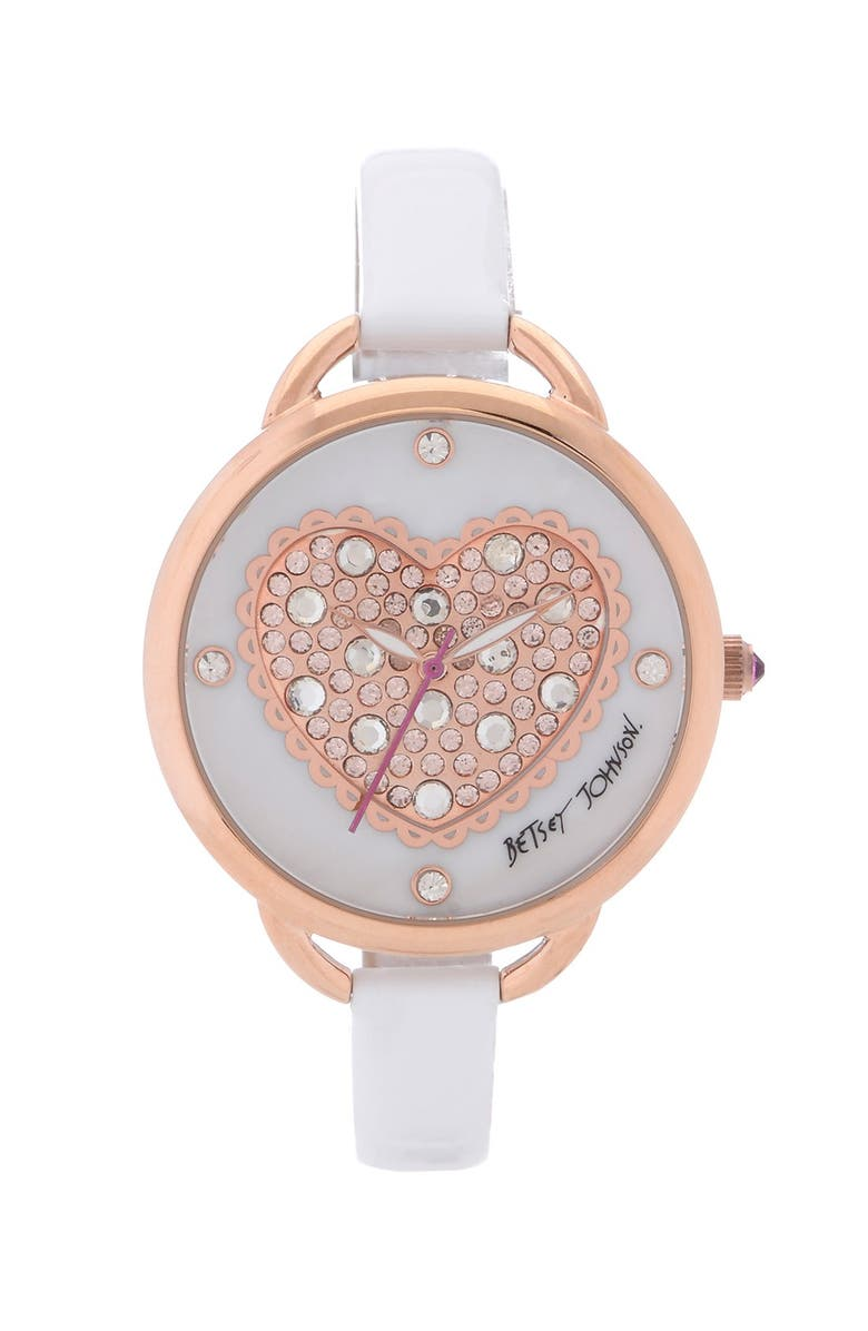 BETSEY JOHNSON Heart Dial Leather Strap Watch, Main, color, 100