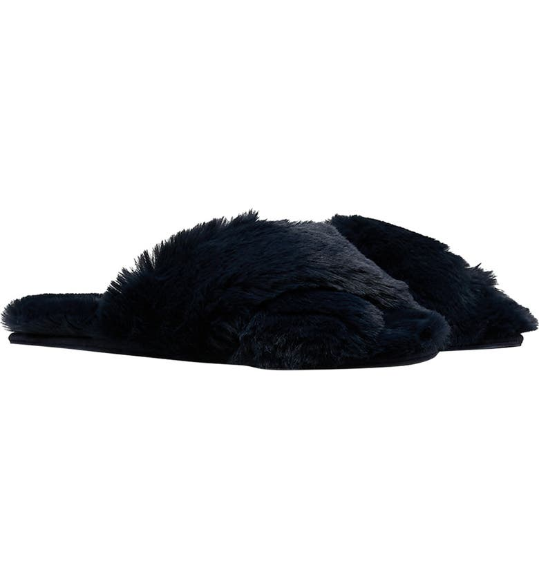 JOULES Slumber Faux Fur Slipper, Main, color, FRENCH NAVY