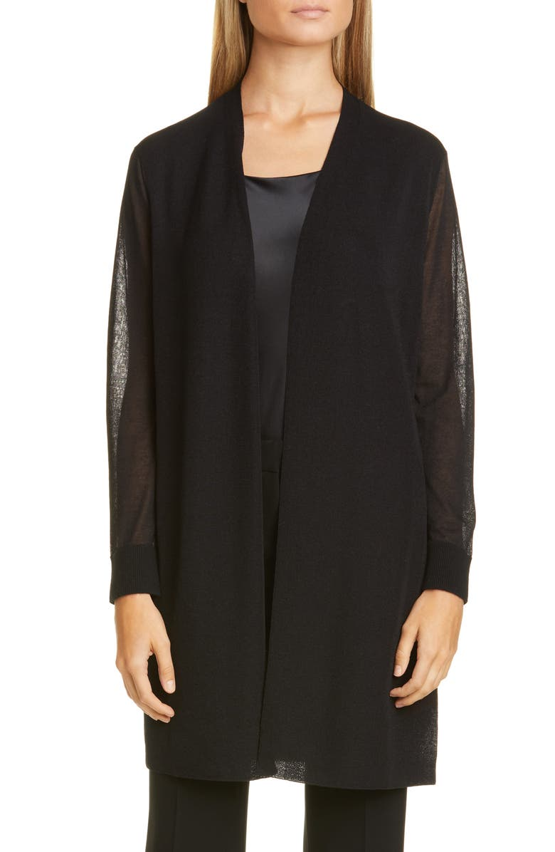 LAFAYETTE 148 NEW YORK Sheer Open Front Cardigan, Main, color, 001