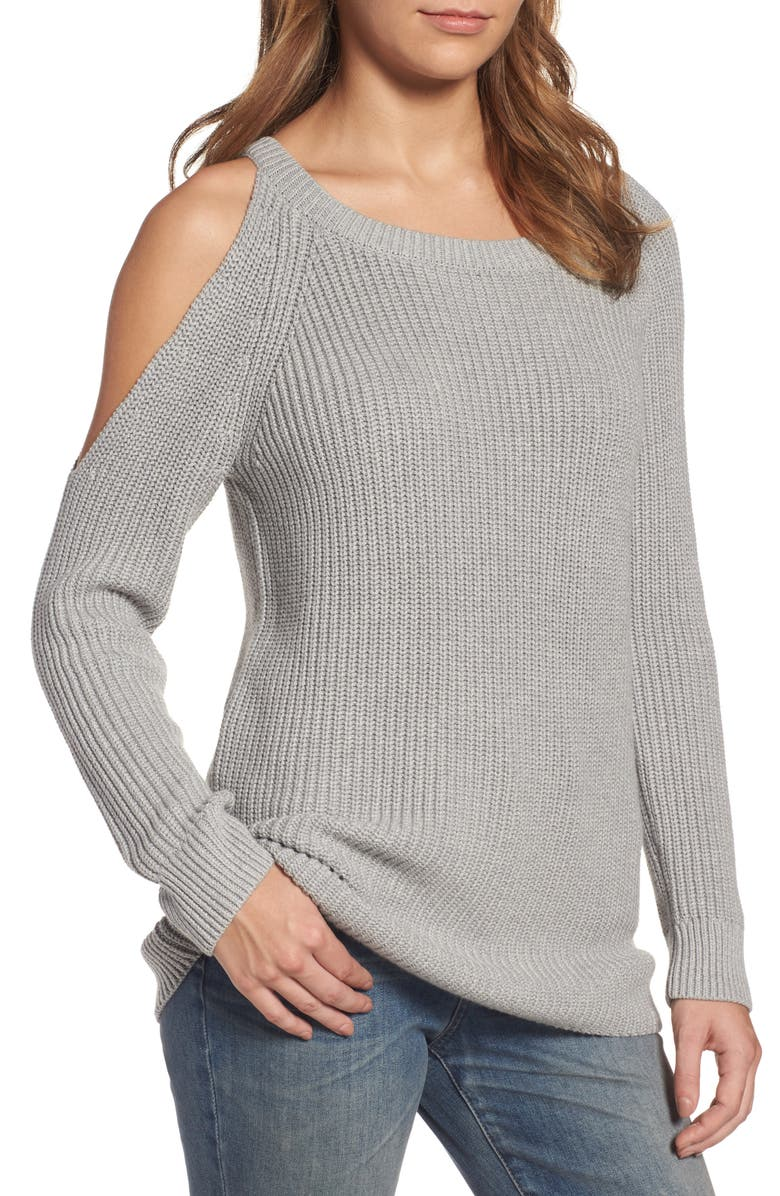 TREASURE & BOND Asymmetrical Cold Shoulder Sweater, Main, color, 020