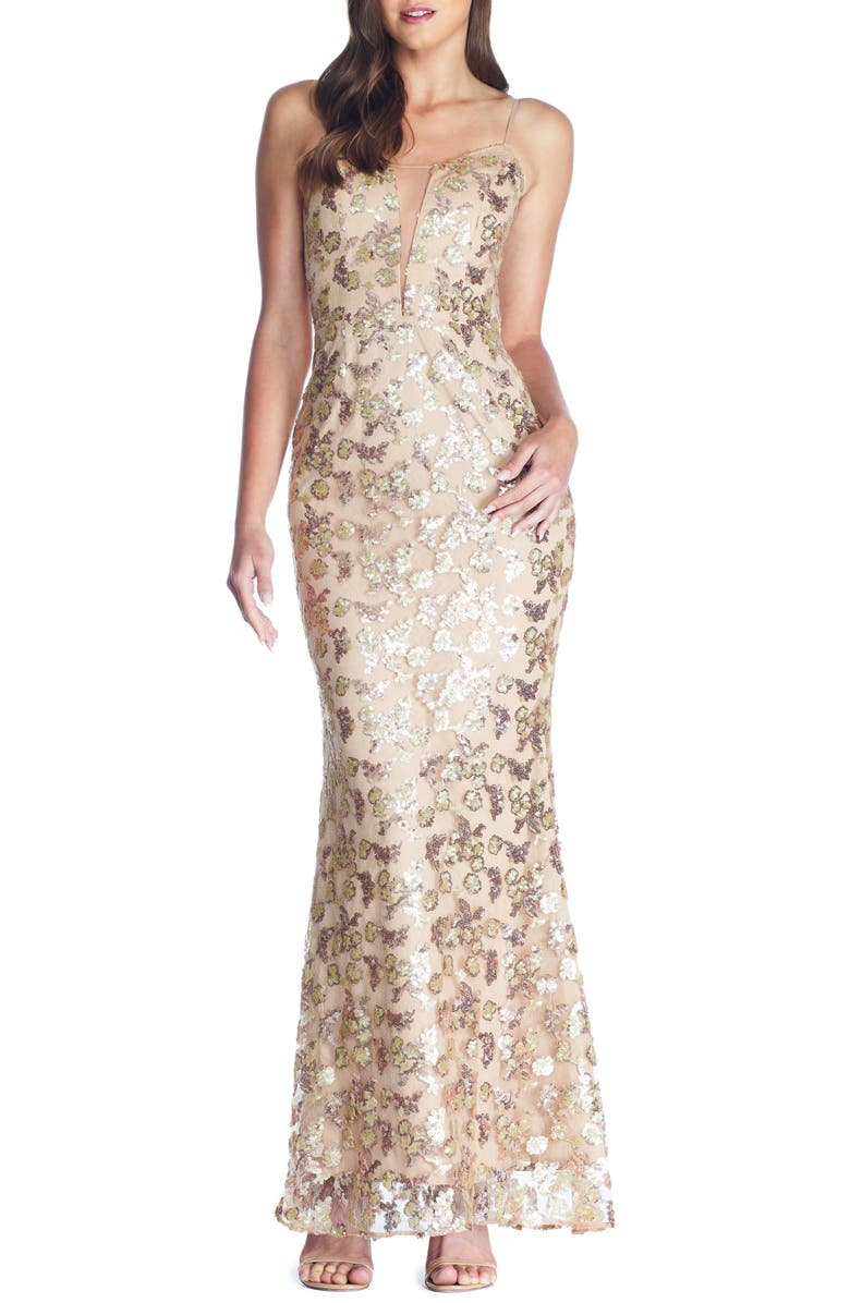 DRESS THE POPULATION Mara Lace & Sequin Evening Gown, Main, color, 230