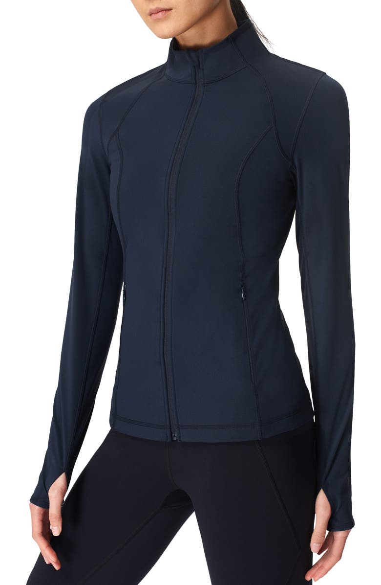 SWEATY BETTY Power Workout Jacket, Main, color, NAVY BLUE