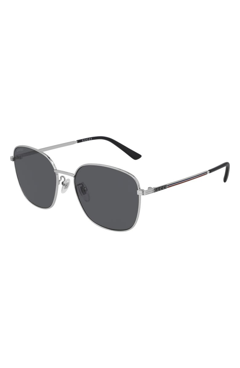 GUCCI 57mm Square Sunglasses, Main, color, SILVER/ GREY