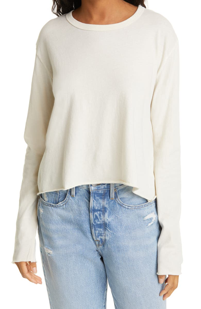 THE GREAT. The Long Sleeve Crop Tee, Main, color, WASHED WHITE