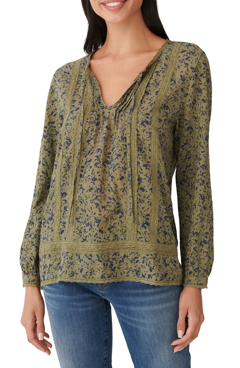 LUCKY BRAND Lace Inset Floral Cotton Knit Top, Main, color, 340