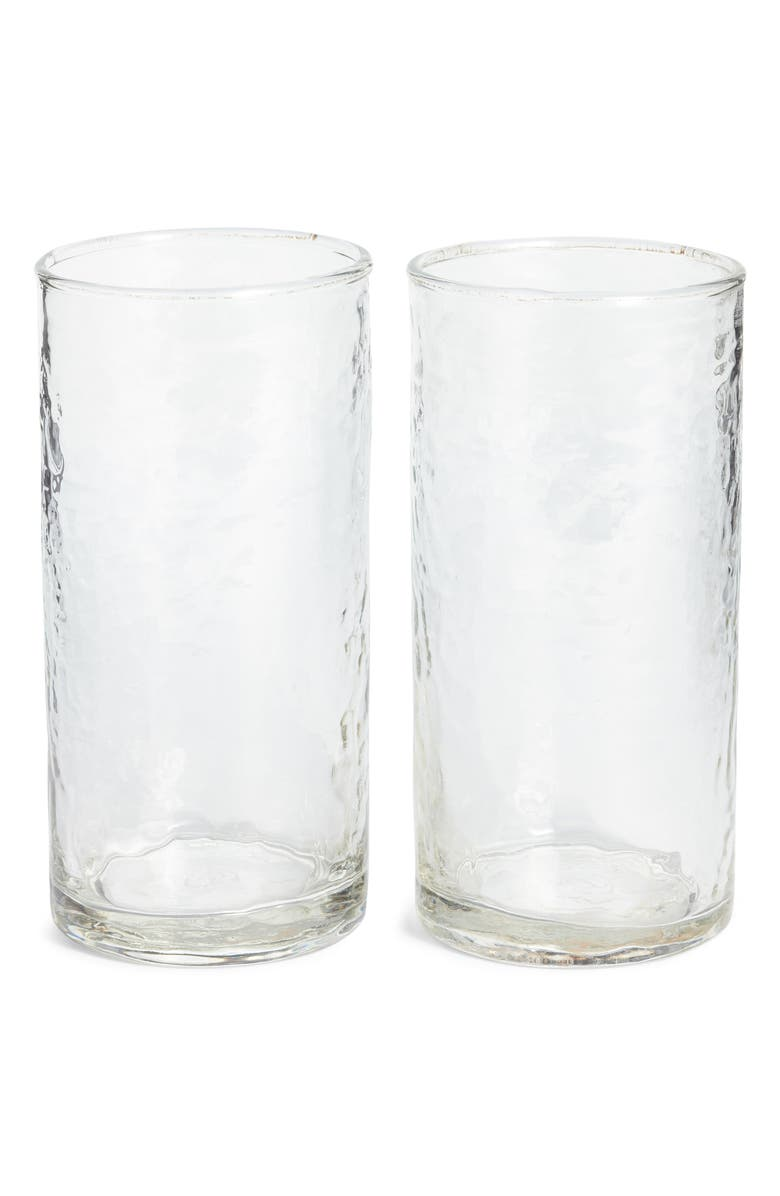 TREASURE & BOND Set of Two Hammered Tall Glasses, Main, color, CLEAR