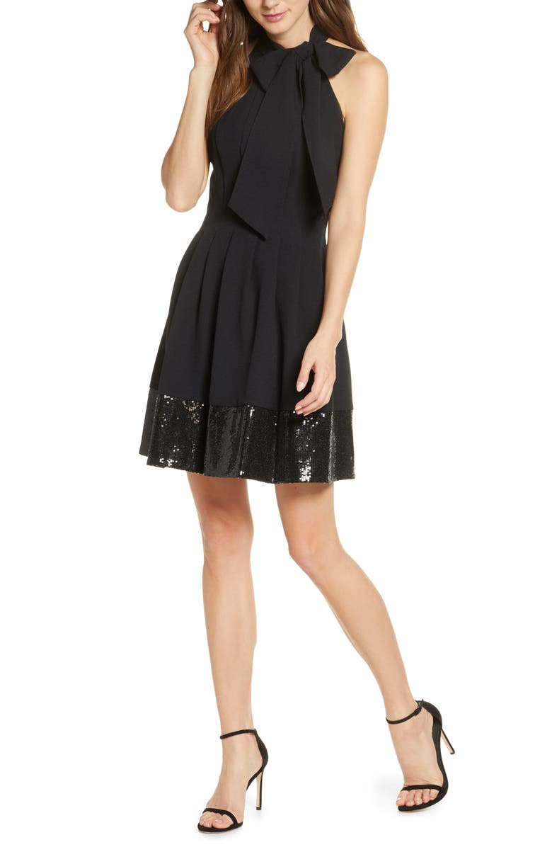 VINCE CAMUTO Bow Neck Fit & Flare Dress, Main, color, 001