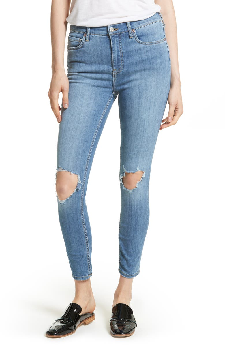 FREE PEOPLE We the Free by Free People High Rise Busted Knee Skinny Jeans, Main, color, LIGHT DENIM