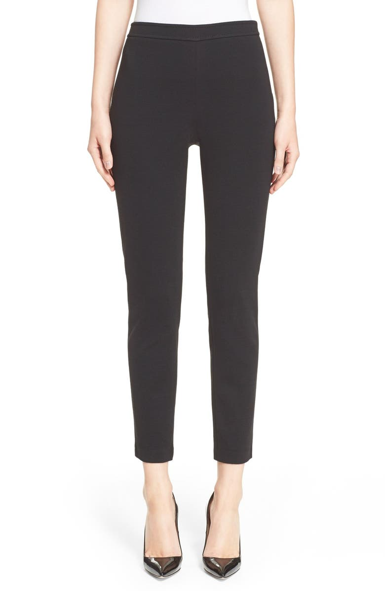 ST. JOHN COLLECTION 'Alexa' Stretch Milano Knit Ankle Pants, Main, color, 001