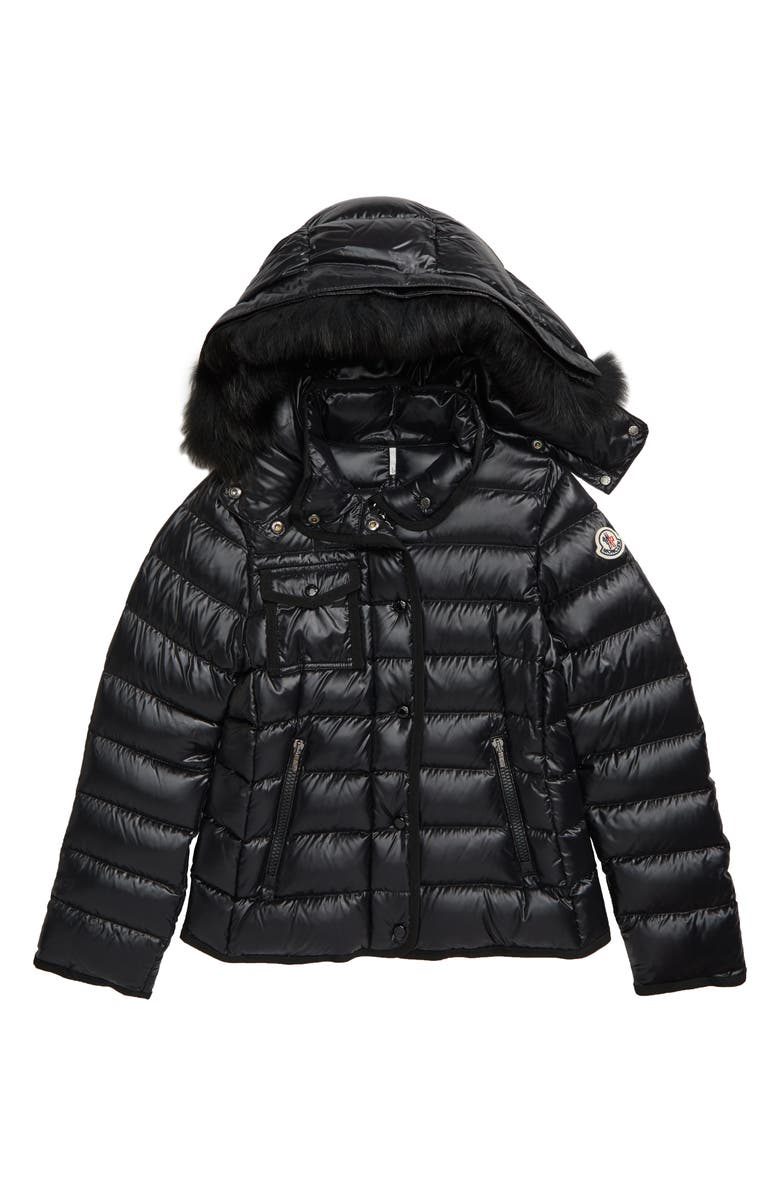 MONCLER New Armoise Hooded Down Jacket with Genuine Fox Fur Trim, Main, color, BLACK