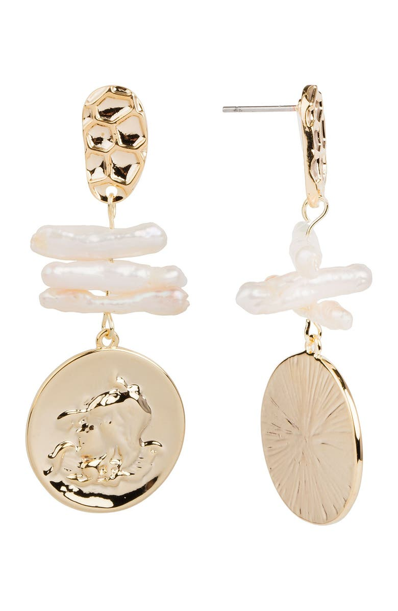SAACHI Calliope Coin 1.7mm Freshwater Pearl Drop Earrings, Main, color, GOLD