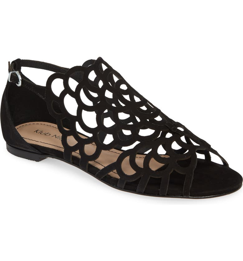 KLUB NICO Jillie Cutout Sandal, Main, color, BLACK NUBUCK