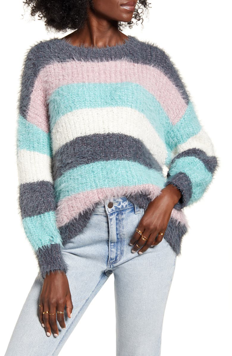 DREAMERS BY DEBUT Stripe Eyelash Sweater, Main, color, 020