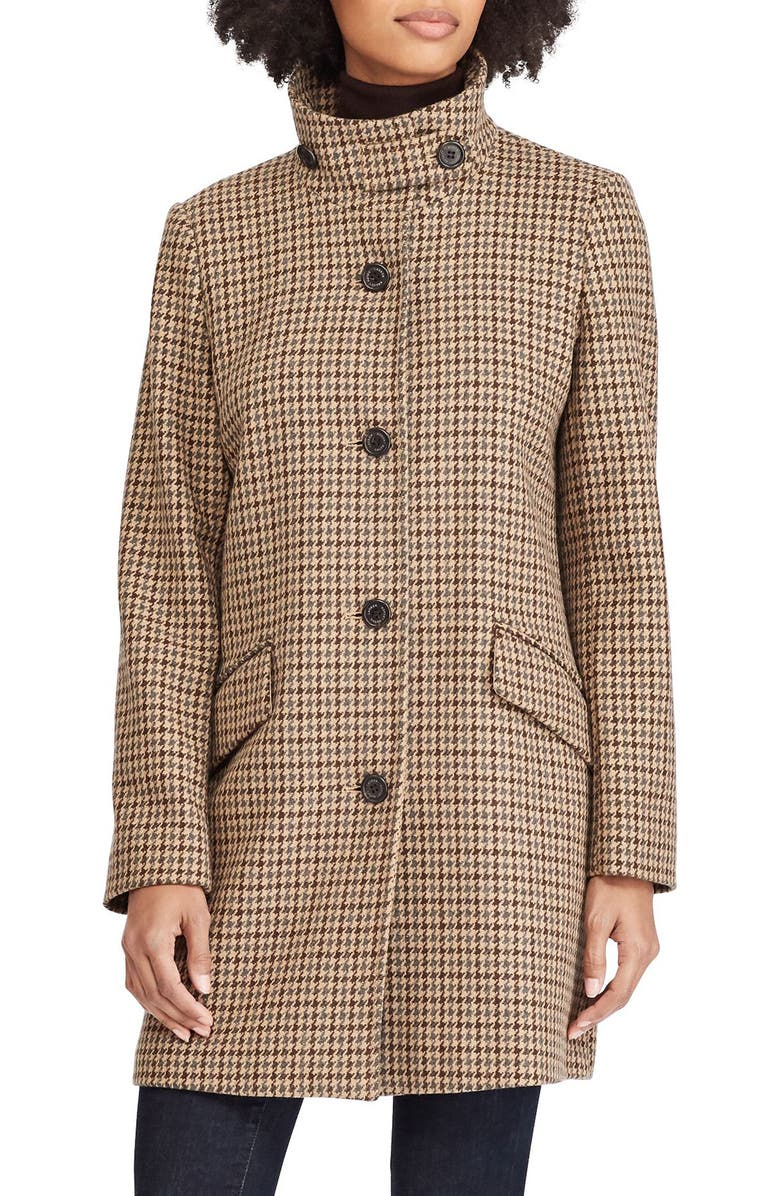 LAUREN RALPH LAUREN Houndstooth Check Coat, Main, color, 070