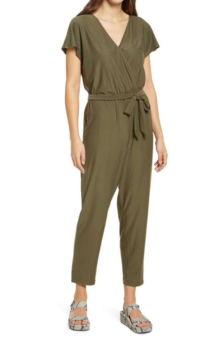 FOURTEENTH PLACE Belted Jersey Jumpsuit, Main, color, GREEN