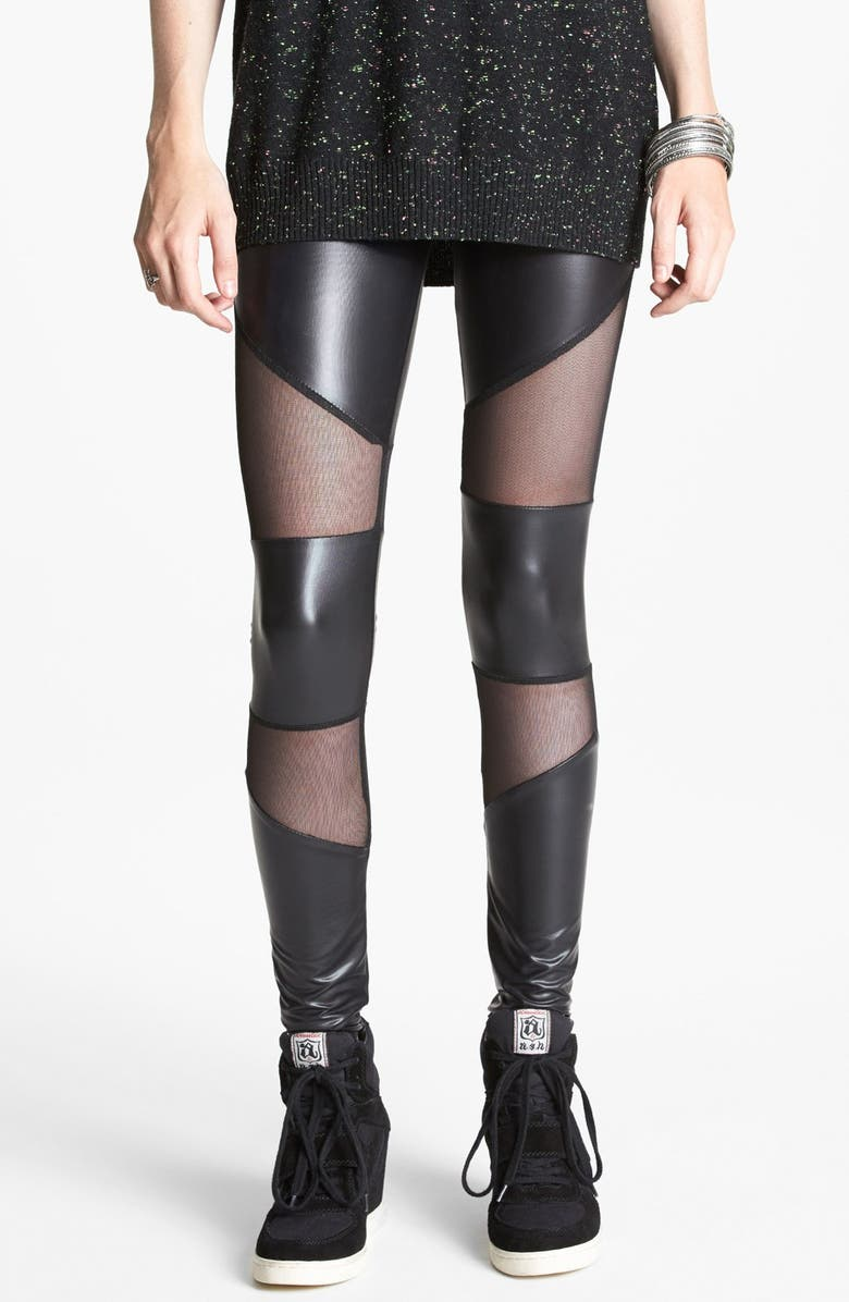 --- Mesh Inset Faux Leather Leggings, Main, color, 001
