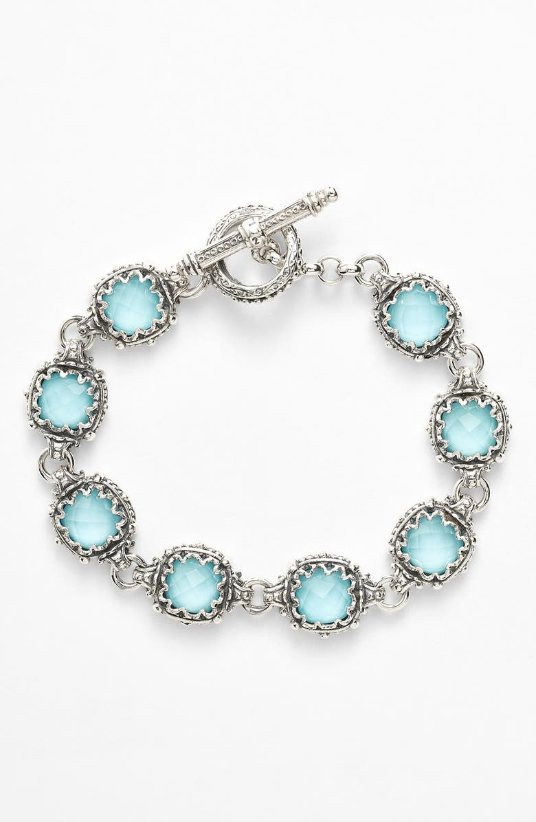KONSTANTINO 'Aegean' Station Link Bracelet, Main, color, SILVER/ TURQUOISE