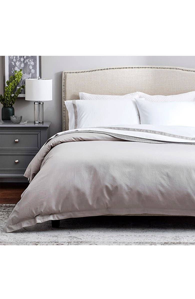 BOLL & BRANCH Classic Hemmed Duvet Cover & Shams Set, Main, color, PEWTER